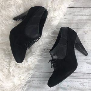All Saints Spitalfields Black Suede Laceup Booties